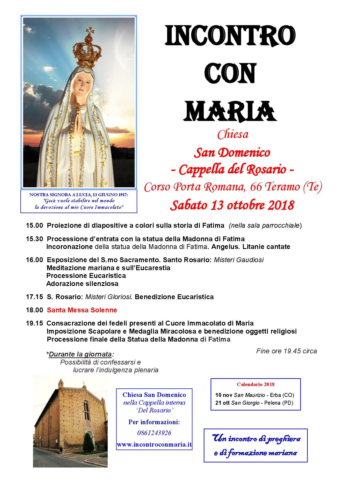 Indulgenze Plenarie Calendario.Sabato 13 Ottobre 2018 Chiesa San Domenico Cappella Del